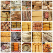 cheese and  meat  specialties  on italian market - collage