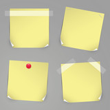 Realistic yellow vector stickers with pins and curved corners.