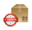 fragile seal and box illustration design