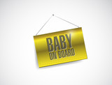 baby on board fabric textured hanging banner