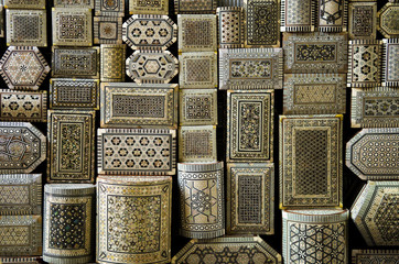 traditional souvenir boxes in market of cairo egypt