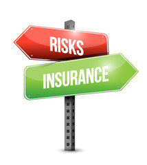 risk and insurance road sign illustration design