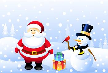 Santa,Snowman & Christmas bird