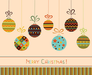 Decoration with christmas balls. Vector