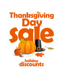 Thanksgiving day sale, holiday discounts design.