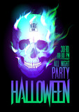 Halloween party design with skull in flames.