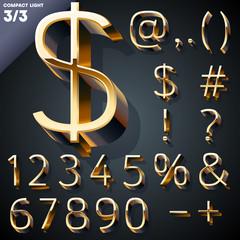 Vector illustration of golden 3D alphabet. Set