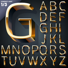 Vector illustration of golden 3D alphabet. Set