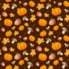 Autumn seamless background with acorns and pumpkins.
