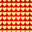 seamless pattern of gold hearts on a red background.background f