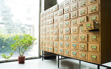 Old archive with drawers