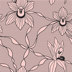 Black lace vector fabric seamless  pattern with orchids