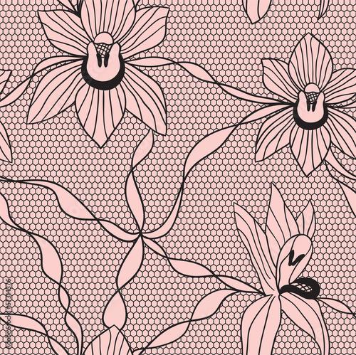 czarnej-koronkowej-wektorowej-tkaniny-bezszwowy-wzor-z-orchideami
