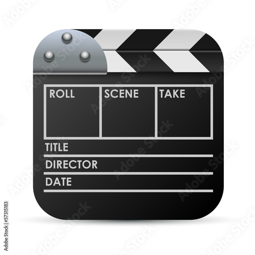 Movie clapboard vector icon isolated on white