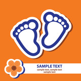 vector banner with signs of baby's feet