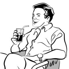 Man drinking a soda