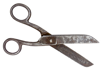 Old scissors isolated. Clipping path included.