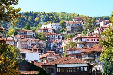 The houses in Metsovo Greek village, Greece