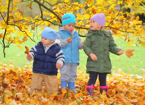 Funny kids playing in yellow foliage. Autumn in the city park.
