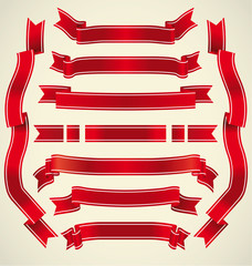 Set of red ribbons
