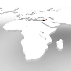 Planisfero mondo 3d bianco cartina Siria bandiera