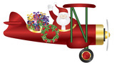 Santa Claus on Biplane Delivering Presents Illustration