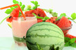 watermelon milkshake with watermelon in white background