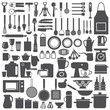 Kitchen related utensils and appliances silhouette icons - 57317960