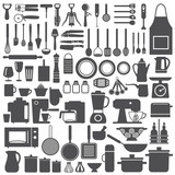 Kitchen related utensils and appliances silhouette icons