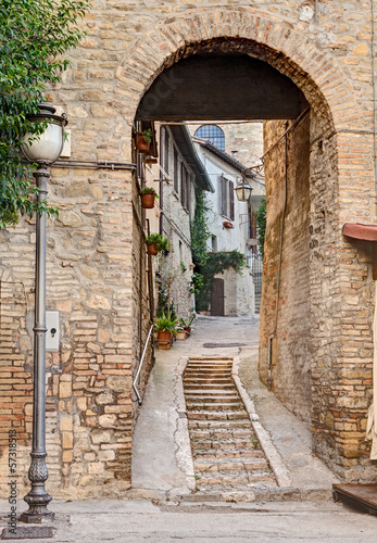 ancient alley in Bevagna, Italy - 57318513