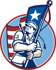 American Patriot Serviceman Soldier Flag Retro