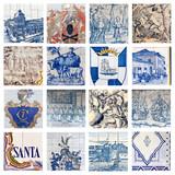 Descriptive Portuguese Tiles Collage poster