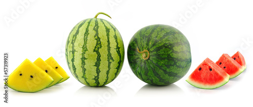 yellow red water melon on white background