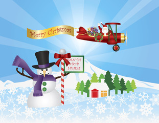 Santa in Plane Flying Over Snow Scene Vector Illustration