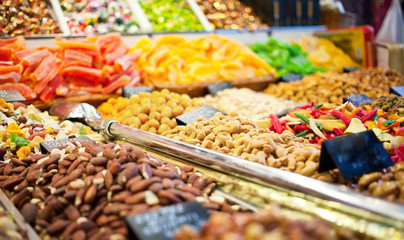 Counter with nuts and dried fruits