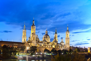 Basilica Del Pilar in Zaragoza in night illumination, Spain