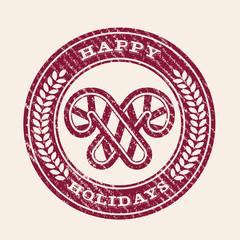 Happy Holiday grunge rubber stamp emblem