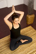 Woman Stretched Upward Seated Yoga Practice Meditation Position