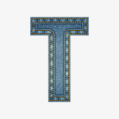 Isolated alphabet made from jeans fabric
