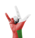 Hand making I love you sign, Oman flag painted