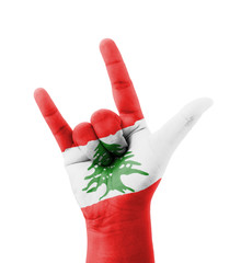 Hand making I love you sign, Lebanon flag painted