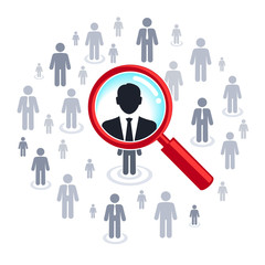 Job search and career choice, magnifying glass searching people