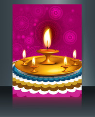 Brochure Happy diwali template festival reflection design