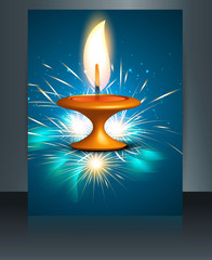 Diwali festival brochure template beautiful lamps background