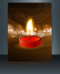 Brochure Happy diwali colorful card template reflection vector