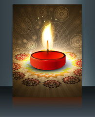 Beautiful diwali greeting card reflection colorful brochure temp