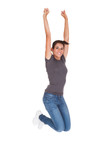 Happy Woman With Arm Raised