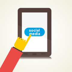 using social media on tablet vector