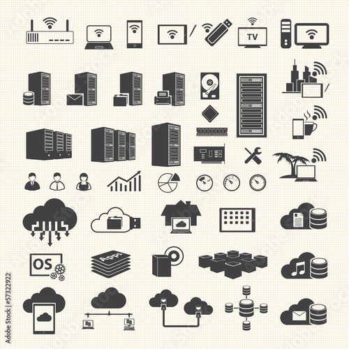 Wireless and Cloud Computing technology icons