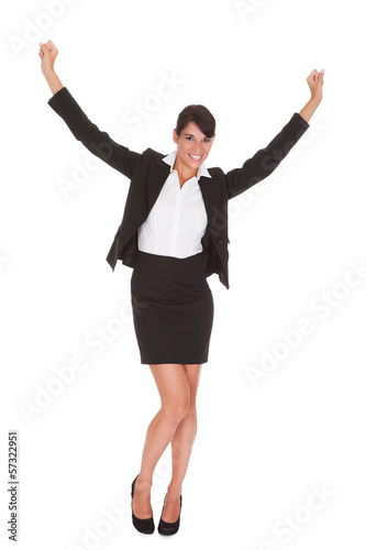 Young Businesswoman Raising Arm
